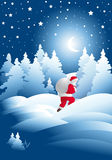 Noche del invierno con Papá Noel Imágenes de archivo libres de regalías