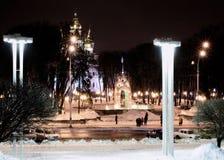 Noche del invierno del paisaje urbano Imagenes de archivo