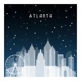 Noche del invierno en Atlanta stock de ilustración