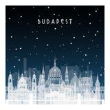 Noche del invierno en Budapest stock de ilustración