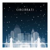 Noche del invierno en Cincinnati