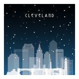 Noche del invierno en Cleveland ilustración del vector