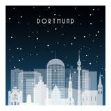 Noche del invierno en Dortmund