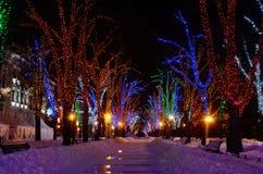 Noche del invierno en el bulevar de Primorskii, Odessa, Ucrania Fotografía de archivo