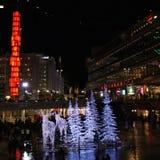 Noche del invierno en el cuadrado de Sergels Fotos de archivo