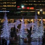 Noche del invierno en el cuadrado de Sergels Fotografía de archivo