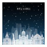 Noche del invierno en Helsinki stock de ilustración
