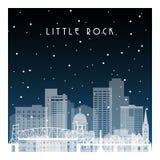 Noche del invierno en Little Rock stock de ilustración
