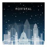 Noche del invierno en Montreal ilustración del vector