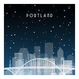 Noche del invierno en Portland ilustración del vector