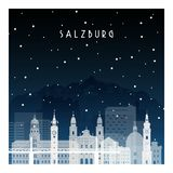 Noche del invierno en Salzburg ilustración del vector