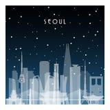 Noche del invierno en Seúl libre illustration