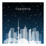Noche del invierno en Toronto stock de ilustración