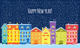 Noche del invierno ¡Feliz Año Nuevo! stock de ilustración