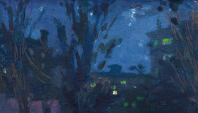 Noche del paisaje de la pintura al óleo Fotos de archivo