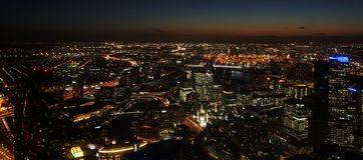 Noche del paisaje urbano de Melbourne Australia Fotografía de archivo libre de regalías