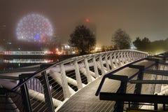 Noche del puente de la canoa, Vancouver foto de archivo libre de regalías