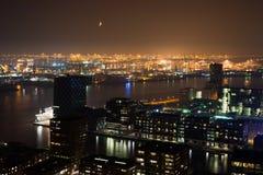 Noche del puerto de Rotterdam Foto de archivo