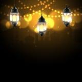 Noche del Ramadán con la luz del bokeh libre illustration