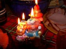 Noche del ` s del Año Nuevo Champán Velas Vector festivo Fotos de archivo