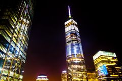 Noche del World Trade Center NYC Foto de archivo