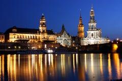 Noche Dresden Foto de archivo libre de regalías