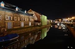 Noche en el canal histórico de Otaru Imagen de archivo libre de regalías