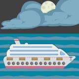 Noche en el mar, luz de luna Costa Luminosa del barco de cruceros Estilo plano del diseño foto de archivo libre de regalías