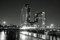 Noche en Grand Rapids Michigan foto de archivo