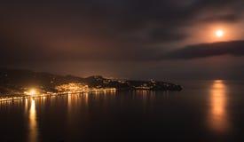 Noche en la bahía del La Herradura, Granada Fotografía de archivo