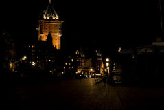 Noche en la ciudad de Quebec Imagen de archivo libre de regalías