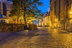 Noche en la ciudad vieja de Riga Foto de archivo