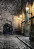 Noche en la ciudad vieja de Riga Foto de archivo libre de regalías