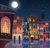 Noche en la ciudad vieja de Venecia Imagenes de archivo