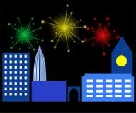 Noche en la ciudad y el fuego artificial libre illustration
