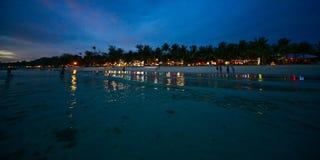 Noche en la isla de Boracay Imagen de archivo libre de regalías