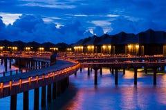 Noche en maldives Imágenes de archivo libres de regalías