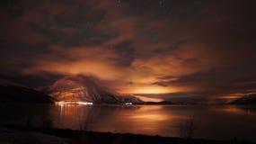 Noche en Noruega Foto de archivo