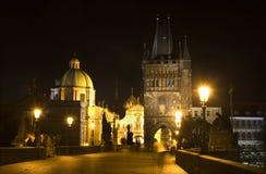 Noche en Praga Fotografía de archivo