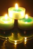 Noche encendida vela Imagen de archivo libre de regalías