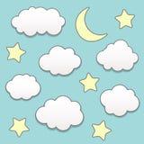 Noche estrellada con la luna y las nubes Imagen de archivo libre de regalías