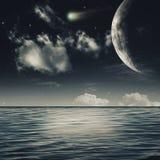 Noche estrellada en el mar imágenes de archivo libres de regalías