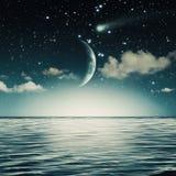 Noche estrellada en el océano stock de ilustración