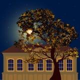 Noche estrellada en la ciudad ilustración del vector