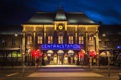Noche Goteburgo Suecia del tren de Centralstation Fotos de archivo