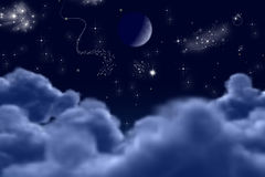 Noche iluminada ilustración del vector
