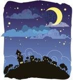 Noche iluminada por la luna Libre Illustration