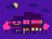 Noche japonesa de las casas Ejemplo plano plano de un edificio Estilo de neón Primavera y Sakura libre illustration