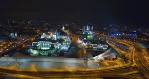 Noche Kazán el Kremlin almacen de metraje de vídeo