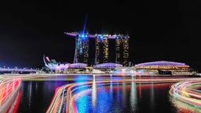 Noche larga de la bahía del puerto deportivo Foto de archivo libre de regalías